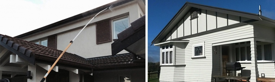 Photo of a house where Ewash is water blasting and photo of the house after cleaning.